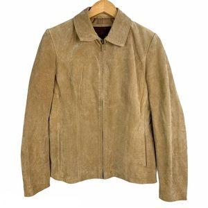 SIENA Suede Leather Tan Zip Up Jacket